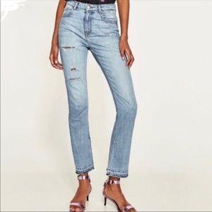 Zara high rise jeans straight opened hem